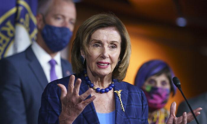 House Speaker Nancy Pelosi (D-Calif.) speaks to reporters on Capitol Hill in Washington on July 30, 2021. (J. Scott Applewhite/AP Photo)
