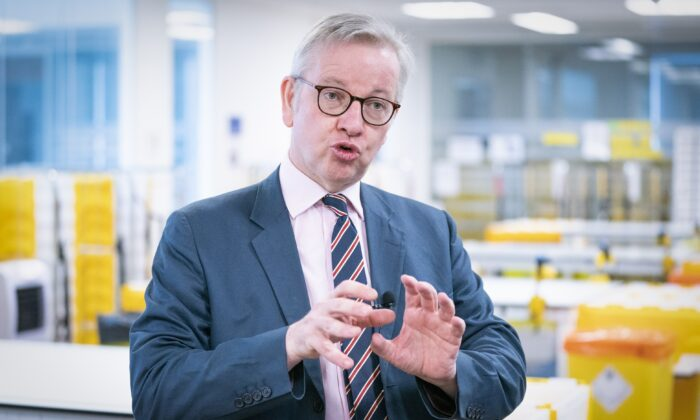 Cabinet Office Minister Michael Gove speaks to the media during a visit to the Queen Elizabeth University Hospital Teaching Campus in Glasgow, Scotland, on July 27, 2021. (Jane Barlow/PA)