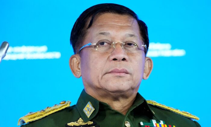 Commander-in-Chief of Burma's armed forces, Senior General Min Aung Hlaing delivers his speech at the IX Moscow conference on international security in Moscow, Russia, on June 23, 2021. (Alexander Zemlianichenko/Pool via AP)