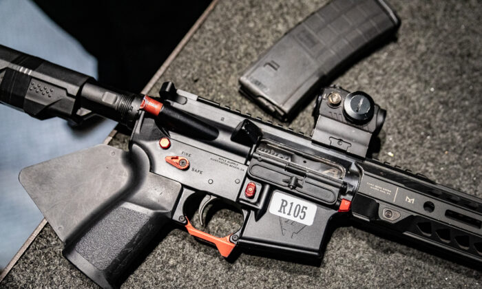 An AR-15 assault rifle at FT3 tactical shooting range in Stanton, Calif., on May 3, 2021. (John Fredricks/The Epoch Times)