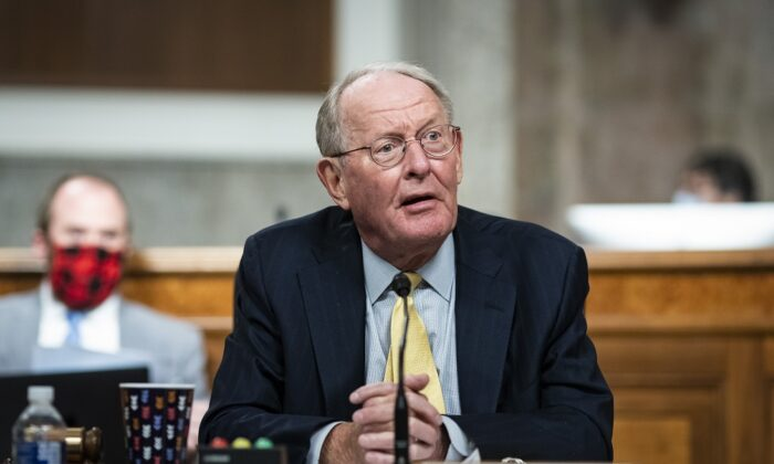 Sen. Lamar Alexander (R-Tenn.) speaks on Capitol Hill in Washington on June 30, 2020. (Al Drago/Pool/Getty Images)