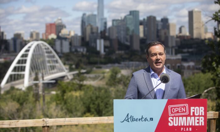 Alberta Premier Jason Kenney speaks about the Open for Summer Plan and next steps in the COVID-19 vaccine rollout, in Edmonton on June 18, 2021. (The Canadian Press/Jason Franson)