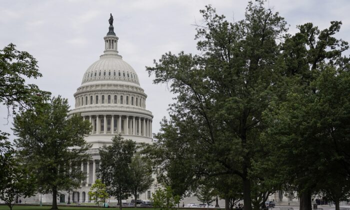 The U.S. Capitol stands before the senate continues debate on a $1 trillion infrastructure bill,  in Washington, on July 31, 2021. (Joshua Roberts/Getty Images)
