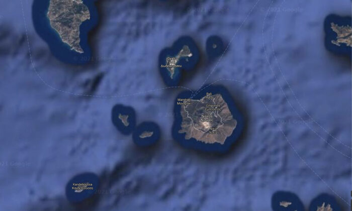 Satellite image showing Greek island of Nisyros and surrounding areas. (Google maps/Screenshot/The Epoch Times)