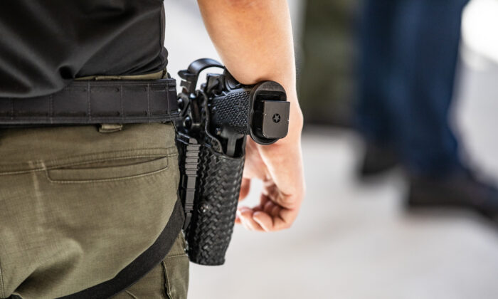 A firearm belonging to a deputy at the Orange County Sheriff's Department Law Enforcment Shooting Range in Orange, Calif., on March 30, 2021. (John Fredricks/The Epoch Times)