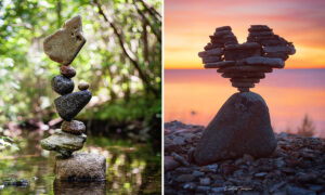 Photographer Creates Impossible Rock Balancing Arrangements in Streams, on Beaches in Sweden