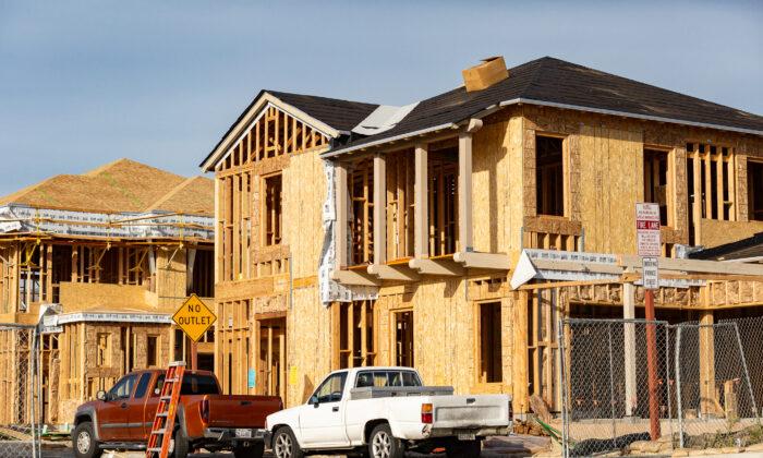 New construction moves forward in the Portola Springs neighborhood of Irvine, Calif., on Feb. 16, 2021. (John Fredricks/The Epoch Times)