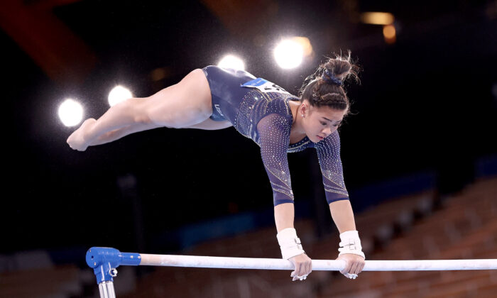 Sunisa Lee of Team United States competes in the Women's Uneven Bars Final on day nine of the Tokyo 2020 Olympic Games at Ariake Gymnastics Centre in Tokyo, Japan, on Aug. 1, 2021. (Maja Hitij/Getty Images)