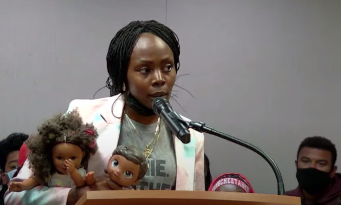 Tamisha Smith, a teacher at Alisal High School, speaks at a school board meeting in Salinas, Calif., on Aug. 24, 2021. (Screenshot via YouTube/SUHSD Official)