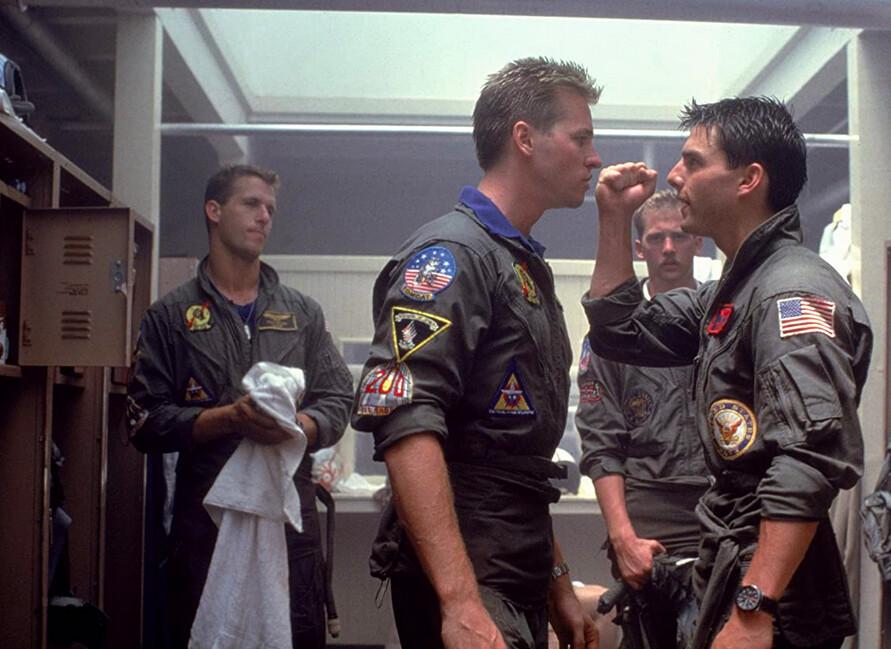 four pilots in locker room in Top Gun, for Val