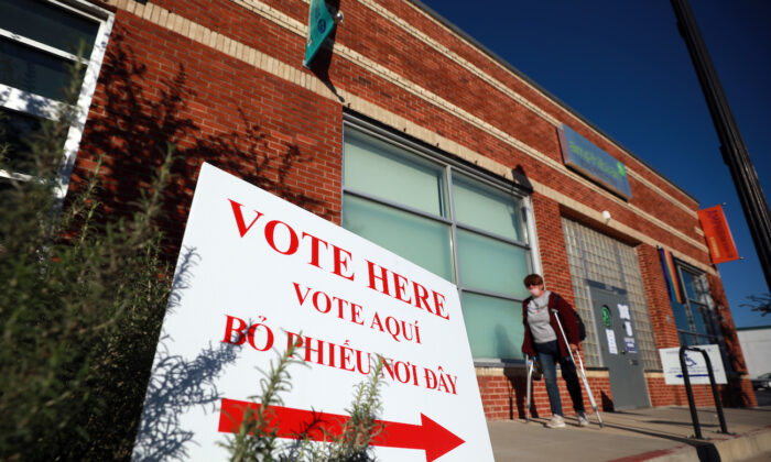 A voter exits a polling location in Fort Worth, Texas, on Nov. 03, 2020. (Tom Pennington/Getty Images)