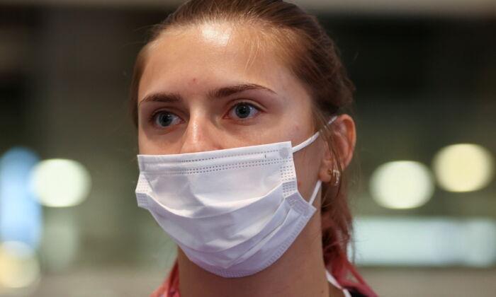 Belarusian athlete Krystsina Tsimanouskaya is seen at Haneda international airport in Tokyo, Japan, on Aug. 1, 2021. (Issei Kato/Reuters)