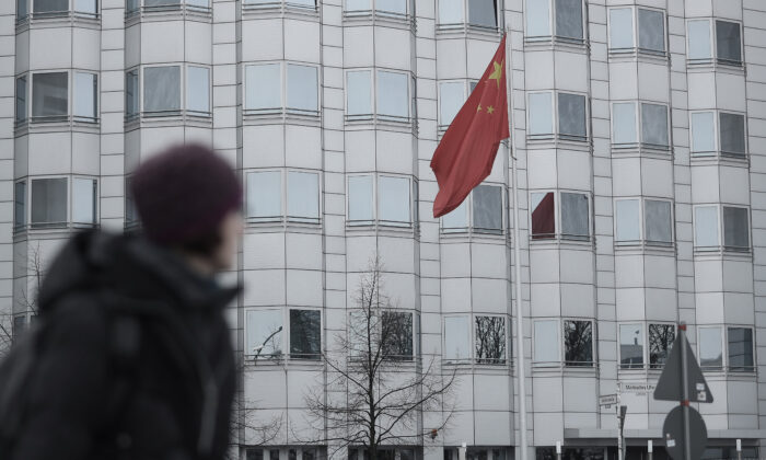 A woman walks past the Chinese Embassy in Berlin on Dec. 11, 2017. (Sean Gallup/Getty Images)