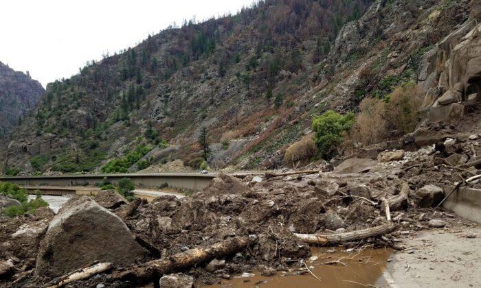 Mud and debris are seen on U.S. Highway 6 in the west of Silver Plume, Colo., on Aug. 1, 2021. (Colorado Department of Transportation via AP)