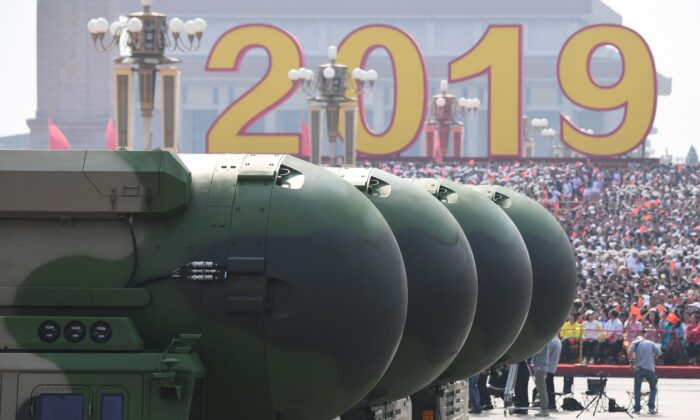 China's DF-41 nuclear-capable intercontinental ballistic missiles are seen during a military parade at Tiananmen Square in Beijing on Oct. 1, 2019. (Greg Baker/AFP via Getty Images)