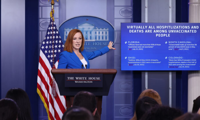 White House press secretary Jen Psaki gestures as she speaks at a daily press briefing in the James Brady Press Briefing Room of the White House on July 27, 2021. (Anna Moneymaker/Getty Images)