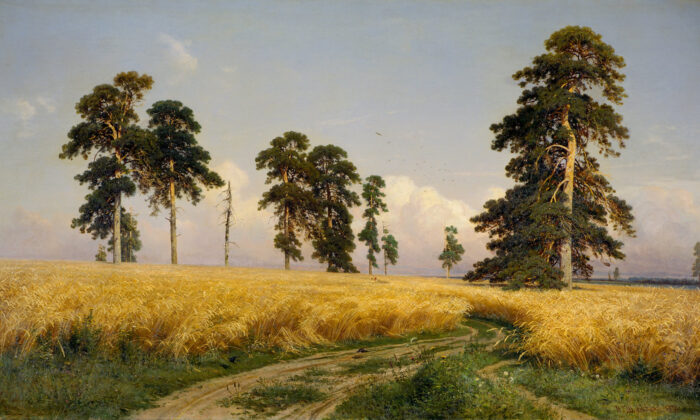 """""""Rye,"""" 1878, by Ivan Shishkin. Oil on canvas; 42.1 inches by 73.6 inches. Tretyakov Gallery. (Public domain)"""