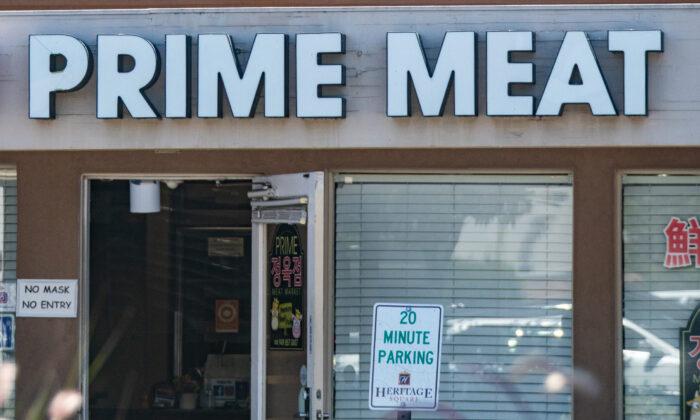 Prime Meat Market, a butcher shop in Irvine, Calif., on Aug. 2, 2021. (John Fredricks/The Epoch Times)