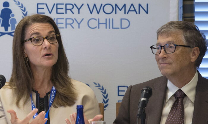 Melinda Gates and her husband, Microsoft co-founder Bill Gates, co-founders of Bill & Melinda Gates Foundation, attend a United Nations' Every Woman, Every Child press conference in New York, on Sept. 24, 2015. (Pearl Gabel/Reuters)