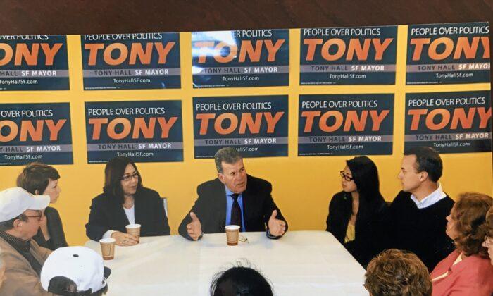 Former Supervisor Tony Hall campaigns for mayor of San Francisco in 2011. (Courtesy of Tony Hall)