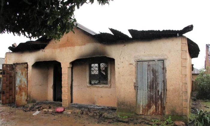 A residence burned in Jebbu-Miango, Plateau State, Nigeria the night of July 31, 2021. (Masara Kim/The Epoch Times)