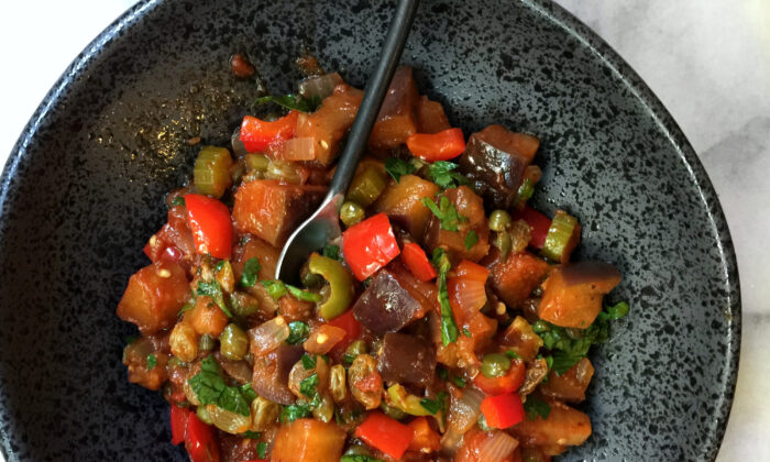 Eggplant is the dominant vegetable in caponata, cooked until golden and squidgy. (Lynda Balslev for Tastefood)