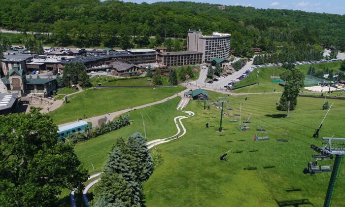 An aerial view of Seven Springs Mountain Resort in the summer. (Courtesy of Seven Springs)