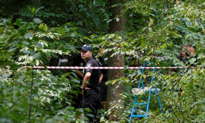 A view of the site where Vitaly Shishov, who led a Kyiv-based organization that helps Belarusians fleeing persecution, was found dead in Kyiv, Ukraine, on Aug. 3, 2021. (Gleb Garanich/Reuters)
