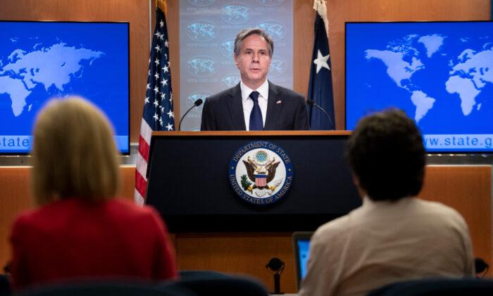 Secretary of State Antony Blinken speaks at the State Department in Washington, on Aug. 2, 2021. (Brendan Smialowski/Pool/AFP via Getty Images)