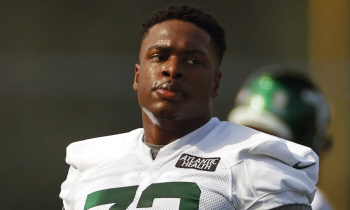 New York Jets offensive tackle Cameron Clark (72) is shown during a practice at the NFL football team's training camp in Florham Park, N.J., on Aug. 22, 2020. (Adam Hunger, File/AP)
