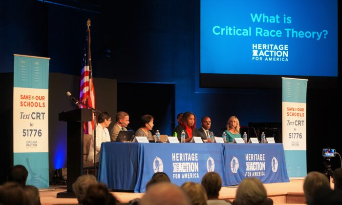 The group Heritage Action for America hosted a panel discussion on critical race theory (CRT) in Georgetown, Delaware, on July 29, 2021. (William Huang/The Epoch Times)