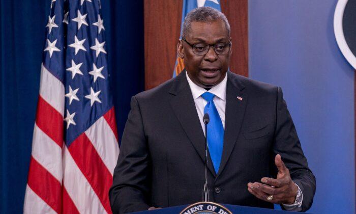 Defense Secretary Lloyd Austin speaks during a press conference at the Pentagon in Arlington, Va., on July 21, 2021. (Ken Cedeno/Reuters)