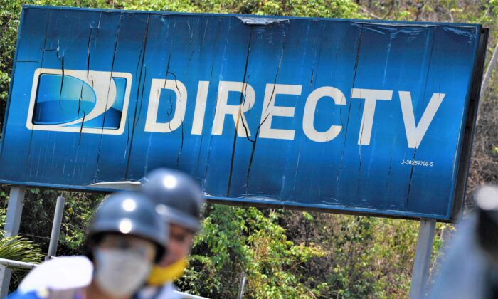 The DirecTV broadcast satellite service provider logo in a file photo. (Federico Parra/AFP via Getty Images)