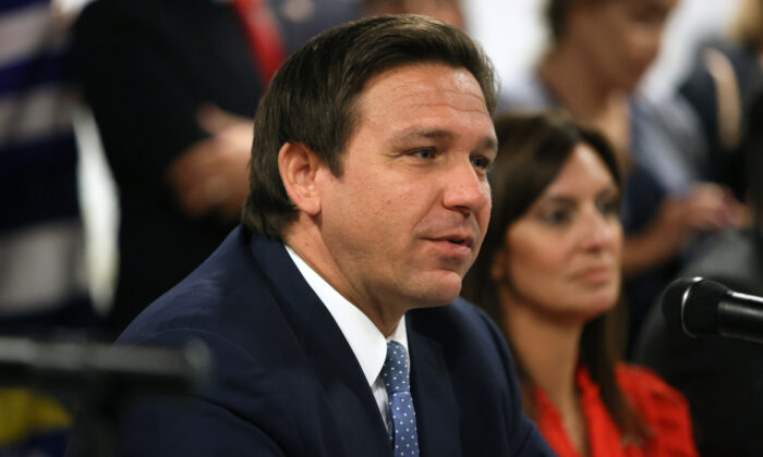 Florida Gov. Ron DeSantis takes part in a roundtable discussion about the uprising in Cuba at the American Museum of the Cuba Diaspora in Miami, Fla., on July 13, 2021. (Joe Raedle/Getty Images)