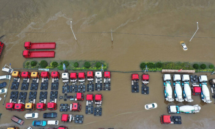This aerial photo taken on July 23, 2021 shows submerged cars following heavy rains in Xinxiang, in China's central Henan province.  (AFP via Getty Images)