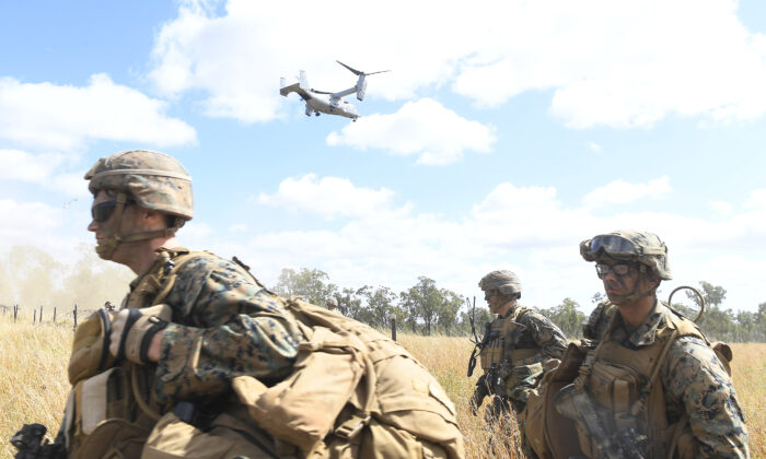 U.S. Marines in the joint military exercise 'Talisman Sabre 21' in Townsville, Australia, on July 27, 2021. (Ian Hitchcock/Getty Images)