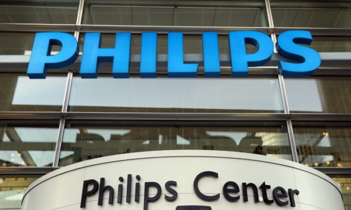 Dutch technology company Philips' logo is seen at company headquarters in Amsterdam, Netherlands, on January 29, 2019. (Eva Plevier/Reuters)
