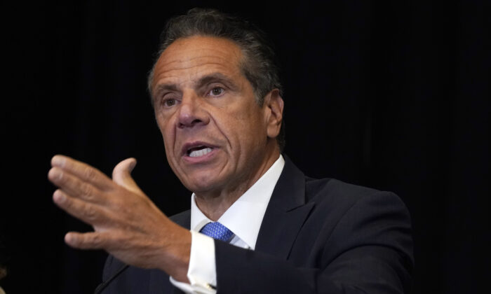 New York Gov. Andrew Cuomo speaks during a news conference at New York's Yankee Stadium on July 26, 2021. (Richard Drew/AP Photo)