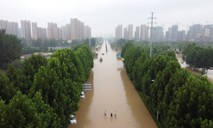 An aerial view shows a flooded road following heavy rainfall in Zhengzhou, Henan province, China on July 23, 2021. (Aly Song/File Photo/Reuters)