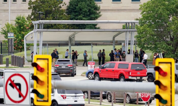 Police vehicles are seen outside the Pentagon Metro area, at the Pentagon in Washington, on Aug. 3, 2021. (Andrew Harnik/AP Photo)