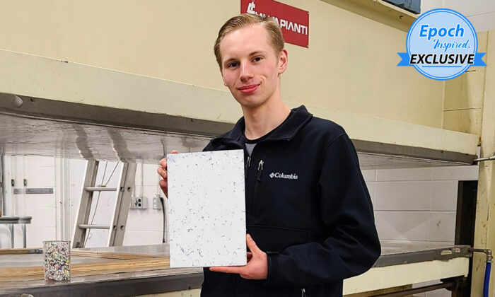 Myles Peterson, 18, CEO and founder of the Terracore Plastic Company, holds a Terra-Panel plywood alternative board. (Courtesy of Myles Peterson)