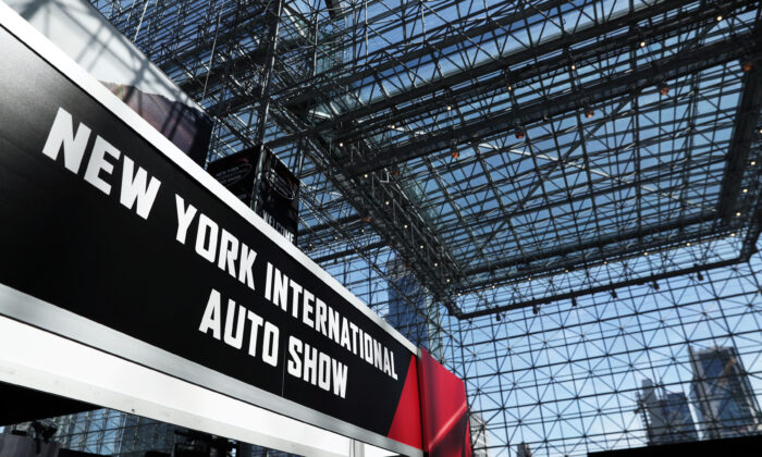 A sign for the auto show is pictured at the 2019 New York International Auto Show in New York City, N.Y., on April 17, 2019. (Shannon Stapleton/Reuters)