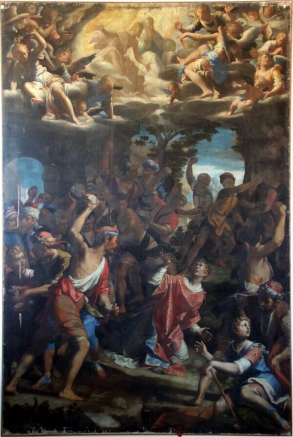 """""""The Stoning of Saint Stephen"""" by Aurelio Lomi, at The National Gallery of Art,is similar to """"The Martyrdom of St. Stephen,"""" pictured here, which Lomi painted in the St. Mary of Peace Church in Genoa, Italy. (Mongolo1984/CC BY-SA 4.0)"""