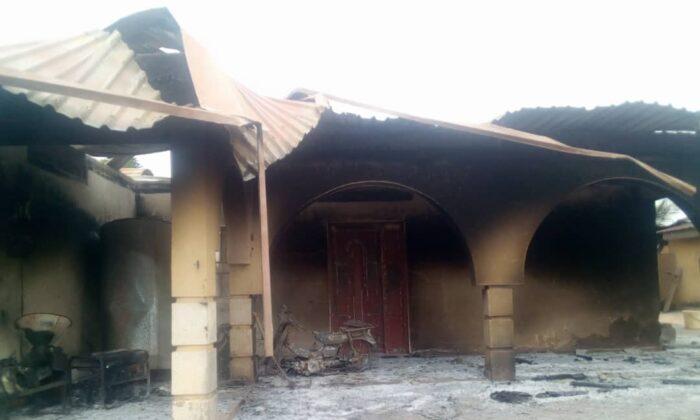 The home of Ishaya Bishara in Kigam village in southern Kaduna state, Nigeria, burned by alleged Fulani herdsmen on Aug. 3, 2021. (Courtesy Luka Binniyat)