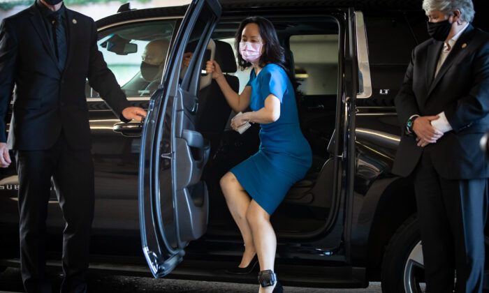 Meng Wanzhou, chief financial officer of Huawei, arrives at B.C. Supreme Court to attend her extradition hearing, in Vancouver, B.C., on Aug. 4, 2021. (The Canadian Press/Darryl Dyck)