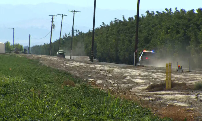 Police on their way to the site of a helicopter crash in Colusa, Calif., on Aug 2, 2021. (Courtesy of KOVR)