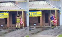 Firefighter Spots American Flag About to Burn During Fierce Auto Shop Blaze—Saves Stars and Stripes