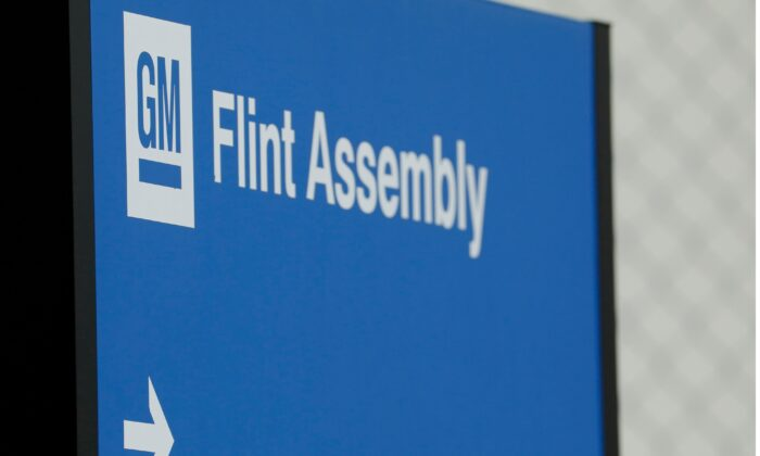 General Motors Flint Assembly plant is viewed in Flint, Mich., on May 18, 2020. (Jeff Kowalsky/AFP via Getty Images)