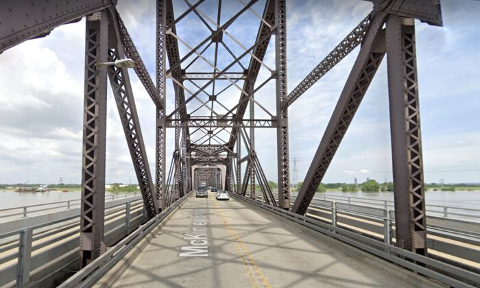 A view of the McKinley Bridge that connects Illinois and Missouri in June 2019. (Google Maps)