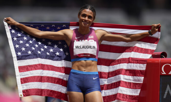 Gold medalist Sydney McLaughlin, of the United States, celebrates after winning the women's 400-meter hurdles at the 2020 Summer Olympics in Tokyo, Japan, on Aug. 4, 2021. (Petr David Josek/AP Photo)